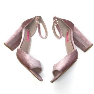 Betsey Johnson Blush Pink Velvet Heels